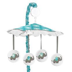 Sweet Jojo Designs Mod Elephant Musical Mobile in Blue/Green/White, Size 25.0 H x 19.0 W x 11.0 D in | Wayfair Mobile-ModElephant