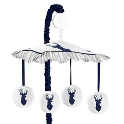 Sweet Jojo Designs Woodland Deer Musical MobileFabric in Blue/White, Size 25.0 H x 19.0 W x 11.0 D in   Wayfair Mobile-Stag