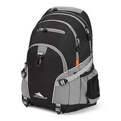 High Sierra Loop Backpack, School, Travel, or Work Bookbag with tablet sleeve, Black/Charcoal, One Size