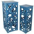 Latitude Run® Adam 2 Piece Cut Out Nesting Tables Wood in Blue/Brown   Wayfair LTRN5057 30786637