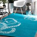 """nuLOOM Octopus Tail Abstract Wool Area Rug, 7' 6"""" x 9' 6"""", Blue Waters"""