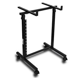 Universal DJ Stand Rack Mount - Heavy Duty Pro Electronic Equipment Studio Stage Stand Holder w/ Rolling Wheels, Works w/ Mixer, Power PA Amplifier, Piano Keyboard, MIDI Controller - Pyle PDJSD2