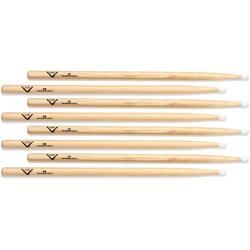 Vater Hickory Drumsticks 4-pack - 5B - Nylon Tip