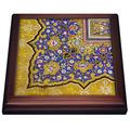 """3dRose Arabian Floral Pattern Persian Style Flowers and Swirls. Arab Islamic Turkish Trivet with Ceramic Tile, 8 by 8"""", Brown"""
