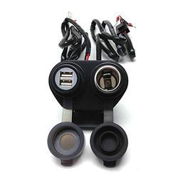 "Cliff Top Heavy Duty Waterproof Motorcycle USB 5V 4 Amp Magnetic Switch Dual USB Charging Port + Cigarette Lighter Adapter Female Socket Power Charger for 7/8 - 1"" Handlebar ATV UTV Smart Phone GPS Tablet Camera"