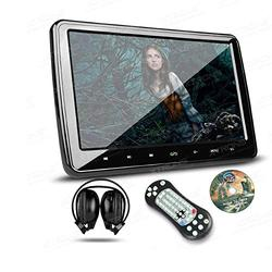 XTRONS 10.1 Inch HD Digital Screen Car Headrest DVD Player Ultra-Thin Detachable Touch Button with HDMI Port One IR Headphone Included