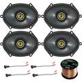"""Car Speaker Set Combo Of 4 Kicker 40CS684 6x8"""" Inch 450W 2-Way Car Coaxial Stereo Speakers + 4 Metra 72-5600 Speaker Connector for Ford, Lincoln, Mazda, Mercury, + Enrock 50ft 16g Speaker Wire"""