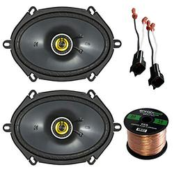 """Car Speaker Set Combo Of 2 Kicker 6x8"""" Inch 450W 2-Way Car Coaxial Stereo Speakers, 2 Metra 72-5600 Speaker Connector for Ford, Lincoln, Mazda, Mercury, Enrock 50ft 16g Speaker Wire"""
