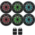 "Kicker 6.5"" Charcoal LED Marine Speakers (QTY 6) 3 pairs of OEM replacement speakers"