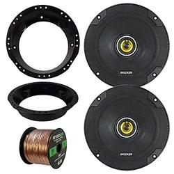 """98-13 Harley Speaker Bundle: 2X Kicker CSC654 6.5"""" Inch 300 Watts 2-Way Black Car Stereo Coaxial Speakers Combo with Speaker Mounting Rings for Motorcycles, Enrock 50 Foot 16 Guage Speaker Wire"""