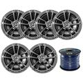 6X Infinity Reference 622m 6.5-Inch 225-Watt High-Performance 2-Way Weather-Proof Marine Boat Power Sport Vehicles 2-Way Coaxial Speakers (3 Pairs) Bundle With Enrock 100-Feet 16-Gauge Speaker Wire