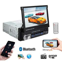Polarlander 1 Din 7 inch LCD Touch Screen Car Stereo Radio with Bluetooth AUX/USB/TF Car FM Radio Receiver MP3/MP4/MP5 Player Support Mirror Link for Android Phone and Rear View Camera