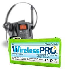 Wireless Pro Premium Replacement Rechargeable Battery for Plantronics Cordless Headset Phone CT-14-2.4 Volt Ni-MH 750mAh - Compatible with Plantronics 80639-01 81087-01 PLN-8108701 BATT-CT14-1PK