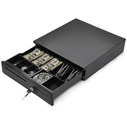 """Tangkula Cash Register Drawer, for Point of Sale (POS) System with Removable Coin Tray, 5 Bill/5 Coin, RJ11 Key-Lock Works Compatible Epson POS Printers, Cash Drawer (16.5"""" x 16'')"""