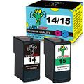 YATUNINK Remanufactured Lexmark Ink Cartridges 14 and 15 Black Color For Lexmark 14 (18C2090) And Lexmark 15 (18C2110) Fit Lexmark X2600 X2630 X2650 X2670 Z2300 Z2320 Printer Ink (2 Pack)