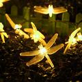 WONFAST Solar Dragonfly String Light, Waterproof 20ft 30 LED Dragonfly Fairy String Light with 2 Modes Christmas Solar String Lights for Garden, Wedding, Party and Holiday Decorations (Warm White)
