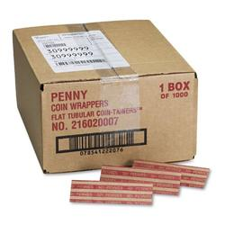 Pop-Open Flat Paper Coin Wrappers, Pennies, 50, 1000 Wrappers/Box