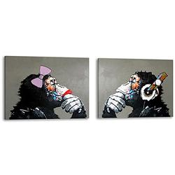 Muzagroo Art Monkey with Headphones Oil Painting Hand Painted Art on Canvas Pictures for Living Room Large Size Paintings Ready to Hang (24x32inx2)