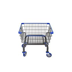 CART&SUPPLY Coin Laundry Cart, [Heavy Duty] [Rolling Cart] Laundry Cart (Charcoal Gray/Blue) Without Pole Rack