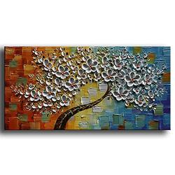 YaSheng Art -100%hand-painted Contemporary Art Oil Painting On Canvas Texture Palette Knife Tree Paintings Modern Home Decor Wall Art 3D Flowers Paintings Ready to hang 20x40inch