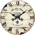 """Yung Jo 10"""" Vintage Rustic Shabby Chic Style Roman Numeral Design Wooden Round Decorative Wall Clock (Crown)"""