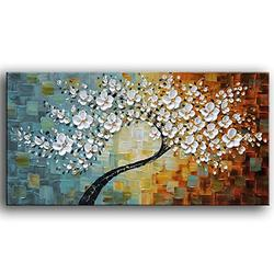 YaSheng Art -100%hand-painted Contemporary Art Oil Painting On Canvas Texture Palette Knife Landscape Paintings Modern Home Interior Decor Abstract Art 3D Flowers Paintings Ready to hang 20x40inch