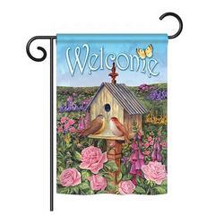 Breeze Decor Bird House 2-Sided Polyester House/Garden Flag in Gray/Blue, Size 18.5 H x 13.0 W in   Wayfair BD-BI-G-100049-IP-BO-DS02-US