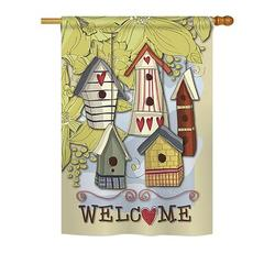 Breeze Decor Birdhouse Village 2-Sided Polyester House/Garden Flag Metal in Brown/Gray, Size 40.0 H x 28.0 W in | Wayfair