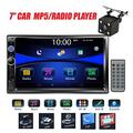 """Regetek Car Stereo Double Din 7"""" Touchscreen in Dash Stereo Car Audio Video Player Bluetooth FM AM Radio Mp3 /TF/USB/ AUX-in/Subwoofer/Steering Wheel Controls + Remote Control+Rear View Camera"""