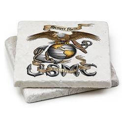 USMC Natural Stone Coaster- USMC Marine Corps Eagle-Stone Gift Box (Set Of 2)