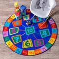 nuLOOM Number Circles Kids Round Rug, 5' Round, Blue