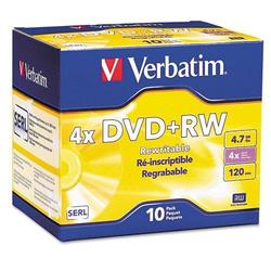 VER94839 - Verbatim DVD+RW 4.7GB 4X with Branded Surface - 10pk Jewel Case