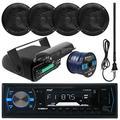 "Pyle PLMRB29B MP3 USB SD Bluetooth In-Dash Radio Receiver Bundle Combo With Black Marine Stereo Housing + 4x 6 1/2"" Dual Cone Waterproof Audio Speakers = Enrock Flex AM/FM Antenna + 50Ft Speaker Wire"