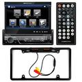 "Soundstream VIR-7830B Single-DIN Bluetooth Car Stereo DVD Player w/ 7"" LCD Touchscreen + Cache Night Vision Car License Plate Rearview Camera - Black CAM810B"