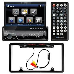 """Soundstream VIR-7830B Single-DIN Bluetooth Car Stereo DVD Player w/ 7"""" LCD Touchscreen + Cache Night Vision Car License Plate Rearview Camera - Black CAM810B"""