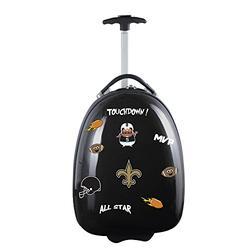 Denco NFL New Orleans Saints Kids Lil' Adventurer Luggage Pod, 18-inches, Black