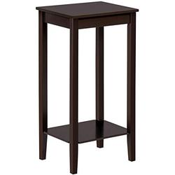 Topeakmart 2 Tier End Table with Storage Shelf, Wood Sofa Side Table Coffee Table for Living Room, L15xW12xH29 Inches, Dark Coffee