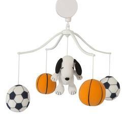 Bedtime Originals Snoopy Sports Musical MobileFabric in Black/Orange, Size 27.0 H x 10.0 W x 10.0 D in   Wayfair 252018