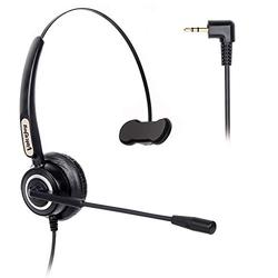 VoiceJoy 2.5mm Cordless Phone Headset Mono with Noise Cancelling Microphone Wired Phone Headset for Panasonic Jabra Cisco Polycom Zultys Gigaset DECT Polycom Grandstream