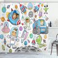 Ambesonne Outer Space Deep Space Astronaut Alien Rockets on Moon Nursery Shower Curtain SetPolyester in Blue/Gray/Pink, Size 75.0 H x 69.0 W in