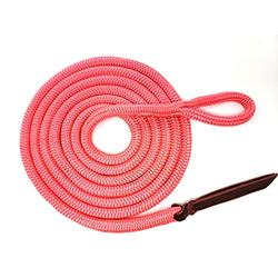 """Knotty Girlz Premium 9/16"""" Double Braid Polyester Yacht Rope Horse Lead Rope for Natural Horsemanship with Eye Spliced Loop 12ft. or 14ft. Lengths (Pink, 12ft. with Hitched in NP Trigger Bull Snap)"""
