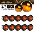 """Partsam 10Pcs 3/4"""" Round Led Marker Lights 3 Wire Combination Turn Signal and Running Lamps Clearance Lights Grommet Mount Replacement for Spider Fender Marker Lights Sealed"""