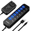 Powered USB Hub 3.0, ELEGIANT 7 Port USB 3.0 Hub and 1 USB Smart Charging Port, USB Splitter with Individual On/Off Switch and 5V/4A Power Adapter USB Extension for Computer MacBook Laptop PC iPhone