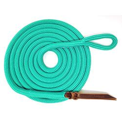 """Knotty Girlz Premium 9/16"""" Double Braid Polyester Yacht Rope Horse Lead Rope Natural Horsemanship w/Loop or Snap 12ft. or 14ft. Lengths (Turquoise, 14 ft. with Hitched in NP Trigger Bull Snap)"""