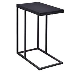 Tangkula Sofa Side End Table, C Shaped Coffee Tray Couch Table with Sturdy Steel Frame, Portable Lap Table Snack Table C Table End Table for Living Room, Black