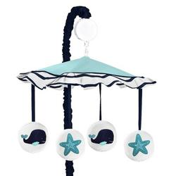 Sweet Jojo Designs Whale Musical MobileFabric in Blue/White, Size 25.0 H x 19.0 W x 11.0 D in   Wayfair Mobile-Whale