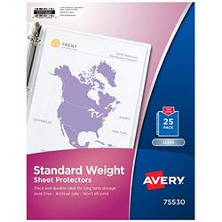 """Avery Clear Standard Weight Sheet Protectors, 8.5"""" x 11"""", Top Load, 500 Total Page Protectors (75530)"""