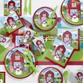 Creative Converting 81 Piece Farmhouse Fun Birthday Paper/Plastic Tableware Set in Blue/Green/Red | Wayfair DTC5506C2A