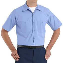 Red Kap Men's Durastripe Work Shirt, Medium Blue/Light Blue Twin Stripe, Short Sleeve Small