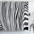 "Ambesonne Zebra Print Shower Curtain, Zebra Pattern Vertical Striped Design Nature Wildlife Inspired Illustration, Cloth Fabric Bathroom Decor Set with Hooks, 75"" Long, White Grey"